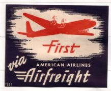 Airline label luggage labels First AA airfreight  #212